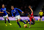 Victor Machin, Vitolo, of Atletico de Madrid (R) is tripped as he competes for the ball with Benat Etxebarria Urkiaga of Athletic de Bilbao during the La Liga 2018-19 match between Atletico de Madrid and Athletic de Bilbao at Wanda Metropolitano, on November 10 2018 in Madrid, Spain. Photo by Diego Gouto / Power Sport Images