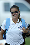 18 June 2004: Brandi Chastain of the San Jose CyberRays before the game. The Atlanta Beat tied the New York Power 2-2 at the National Sports Center in Blaine, MN in Womens United Soccer Association soccer game featuring guest players from other teams.