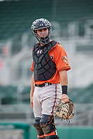 Baltimore Orioles catcher Matthew Beaird (61) during a Florida Instructional League game against the Boston Red Sox on September 21, 2018 at JetBlue Park in Fort Myers, Florida.  (Mike Janes/Four Seam Images)