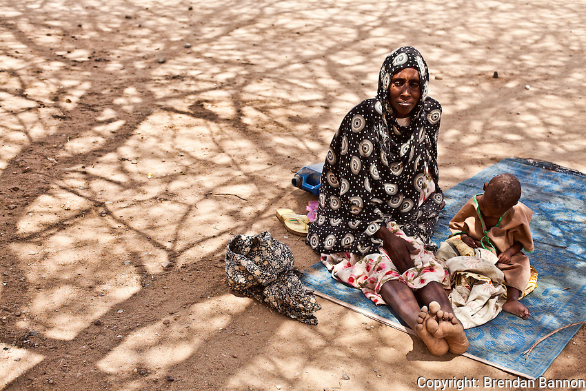 Fatuma Ali and her child in MSf hospital at Dadaab refugee camp. Fatuma Ali fled her vvillage on the outskirts of Mogadishu seven months ago for Dadaab refugee camp.