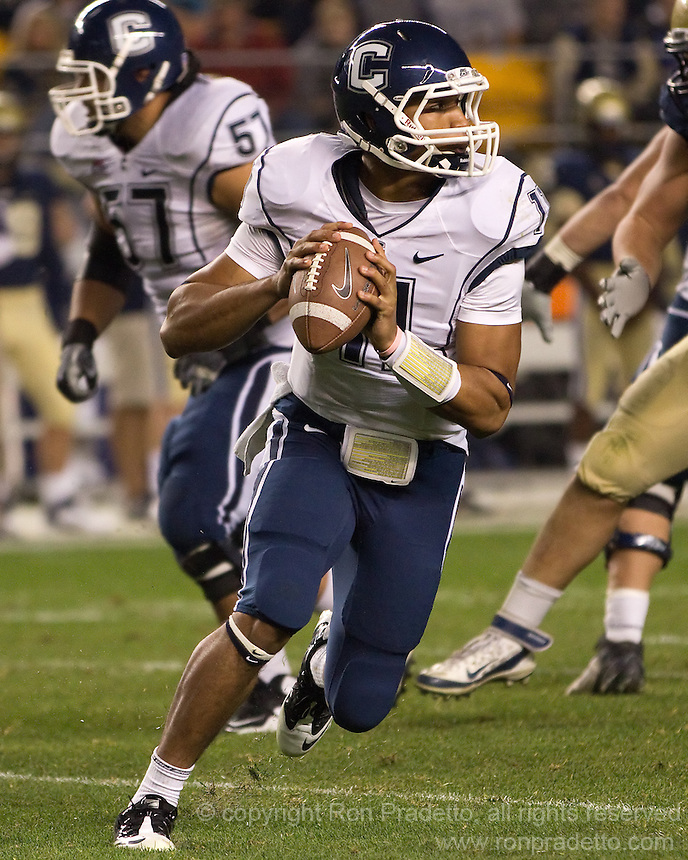 UConn quarterback Scott McCummings. The Pittsburgh Panthers beat the UCONN Huskies 35-20 at Heinz field in Pittsburgh, Pennsylvania on October 26, 2011.