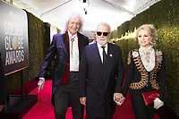 Brian May, Roger Taylor and Sarina Potgieter attend the 76th Annual Golden Globe Awards at the Beverly Hilton in Beverly Hills, CA on Sunday, January 6, 2019.<br /> *Editorial Use Only*<br /> CAP/PLF/HFPA<br /> Image supplied by Capital Pictures