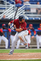 Mahoning Valley Scrappers outfielder Anthony Santander (27) at bat during a game against the Batavia Muckdogs on June 22, 2015 at Dwyer Stadium in Batavia, New York.  Mahoning Valley defeated Batavia 15-11.  (Mike Janes/Four Seam Images)