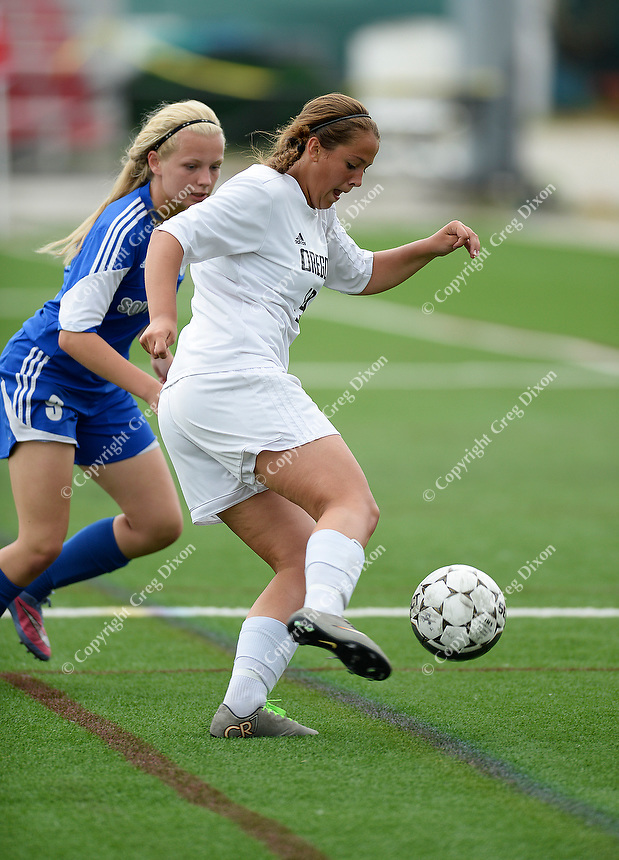 Oregon's Brittyn Fleming gets in front of Green Bay Southwest's Sarah Klemp, as Oregon tops Green Bay Southwest 3-0 to win the WIAA Division 2 girls soccer state championship, on Saturday, June 20, 2015 at Uihlein Soccer Park in Milwaukee, Wisconsin
