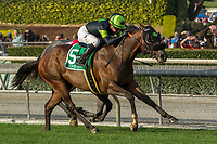 ARCADIA, CA  DECEMBER 26: #5 Bowies Hero, ridden by Kent Desormeaux, in the stretch of the Mathis Brothers Mile (Grade ll) on December 26, 2017 at Santa Anita Park in Arcadia, CA.(Photo by Casey Phillips/ Eclipse Sportswire/ Getty Images)