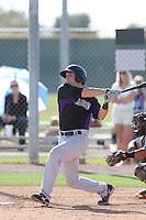 Ryan Casteel #65 of the Colorado Rockies bats during a Minor League Spring Training Game against the San Francisco Giants at the Colorado Rockies Spring Training Complex on March 18, 2014 in Scottsdale, Arizona. (Larry Goren/Four Seam Images)