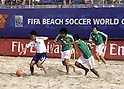 (L-R) Takeshi Kawaharazuka (JPN), Francisco Cati, Angel Rodriguez, Jose Cervantes (MEX),SEPTEMBER 2, 2011 - Beach Soccer :FIFA Beach Soccer World Cup Ravenna/Italy 2011, Group D match between Japan 2-3 Mexico at Stadio del Mare in Marina di Ravenna, Ravenna, Italy. (Photo by Wataru Kobayakawa/AFLO)