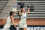 Jule Grashoff (24) of the Wake Forest Demon Deacons celebrates after scoring her second goal of the game on a penalty corner during second half action against the Ohio State Buckeyes at Kentner Stadium on September 10, 2017 in Winston-Salem, North Carolina.  The Demon Deacons defeated the Buckeyes 3-1.  (Brian Westerholt/Sports On Film)