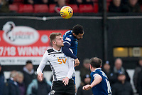 7th March 2020; Somerset Park, Ayr, South Ayrshire, Scotland; Scottish Championship Football, Ayr United versus Dundee FC; Kane Hemmings of Dundee competes in the air with Sam Roscoe of Ayr United