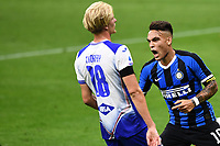 Lautaro Martinez of FC Internazionale celebrates after scoring the goal of 2-0 during the Serie A football match between FC Internazionale and UC Sampdoria at Stadio San Siro in Milano ( Italy ), June 21th, 2020. Play resumes behind closed doors following the outbreak of the coronavirus disease. <br /> Photo Image/Insidefoto