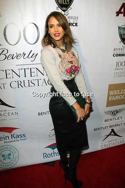 BEVERLY HILLS, CA - February 05: Jessica Alba at Experience East Meets West honoring Beverly Hills' momentous centennial year, Crustacean, Beverly Hills, February 05, 2014.<br /> Credit: MediaPunch/face to face<br /> - Germany, Austria, Switzerland, Eastern Europe, Australia, UK, USA, Taiwan, Singapore, China, Malaysia, Thailand, Sweden, Estonia, Latvia and Lithuania rights only -
