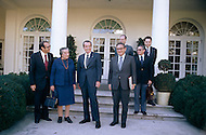 President Richard Nixon with Israeli Prime Minister Golda Meir and Henry Kissinger  -  A break in at the Democratic National Committee headquarters at the Watergate complex on June 17, 1972 results in one of the biggest political scandals the US government has ever seen.  Effects of the scandal ultimately led to the resignation of  President Richard Nixon, on August 9, 1974, the first and only resignation of any U.S. President.