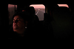 Relatives of Basque prisoners at sunrise time, sleeping on their way to Herrera de la Mancha prison to visit their loved ones. Manzanares (Spain) November 15, 2008. Basque prisoners are dispersed on Spanish and French prisons. Usually their relatives travel together using vans driven by volunteers who they call themselves 'Mirentxin' (something similar to 'little Mari'). (Bostok Photo/Gari Garaialde)