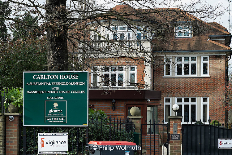 For Sale. Carlton House, in The Bishops Avenue in north London, for sale following its court seizure from a Kazakh billionaire accused of banking fraud.  Many houses in the street, also known as Billionaire's Row, have been left vacant by their mostly overseas owners.