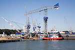 Cranes and port activity, Port of Rotterdam, Netherlands