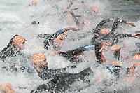 03 SEP 2006 - LAUSANNE, SWITZERLAND - Elite Mens swim start at the World Triathlon Championships. (PHOTO (C) NIGEL FARROW)