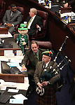 Former Nevada Senator Dennis Nolan plays the bagpips on the Senate floor at the Legislature in Carson City, Nev., on Thursday, March 17, 2011..Photo by Cathleen Allison