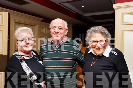 Enjoying the Sliabh Luachra Active Retirement Tea Dance afternoon in the River Island Hotel, Castleisland on Sunday last,L-r, Mary and Tim Hickey of Listowel with Joanie Kennelly (Rathea).