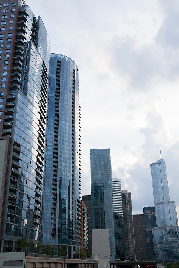 Blue-grey skyline of skyscrapers, Chicago, Illinois, IL, USA