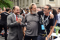 NEW YORK, NY - SEPTEMBER 13: Corey Johnson, Jeff Bridges and Brian Rothschild attend the Fifth Annual Come Together: NYC Bed-In Celebration at City Hall on September 13, 2018 in New York City. <br /> CAP/MPI/RH<br /> &copy;RH/MPI/Capital Pictures