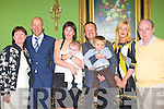 Ciara and Richard Garbutt Oxford, England formally Killarney celebrate the christening of their son Henry christening in the Dromhall Hotel Killarney on Sunday l-r: Nuala Looney-O'Shaugnessy, Steve Hide, Ciara, Henry, Richard, James Garbutt, Martina Counihan and John Looney.
