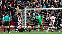 Eric Maxim Choupo-Moting of Stoke City scores his second goal during the Premier League match between Stoke City and Manchester United at the Britannia Stadium, Stoke-on-Trent, England on 9 September 2017. Photo by Andy Rowland.