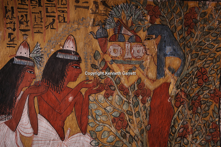 Zahi Hawass Secret Egypt Travel Guide; Egypt; archaeology; Luxor; West Bank; El Qurna, Deir El Medina, tombs of the workers, Tomb of Sennudjum, TT 1, Sennedjem and Iyneferti, goddess Nut, sycamore tree, New Kingdom