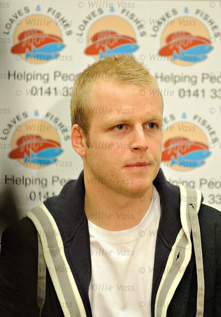 Rangers and Scotland star Steven Naismith sponsors a christmas lunch for Glasgow's homeless in conjunction with the Loaves and Fishes charity.