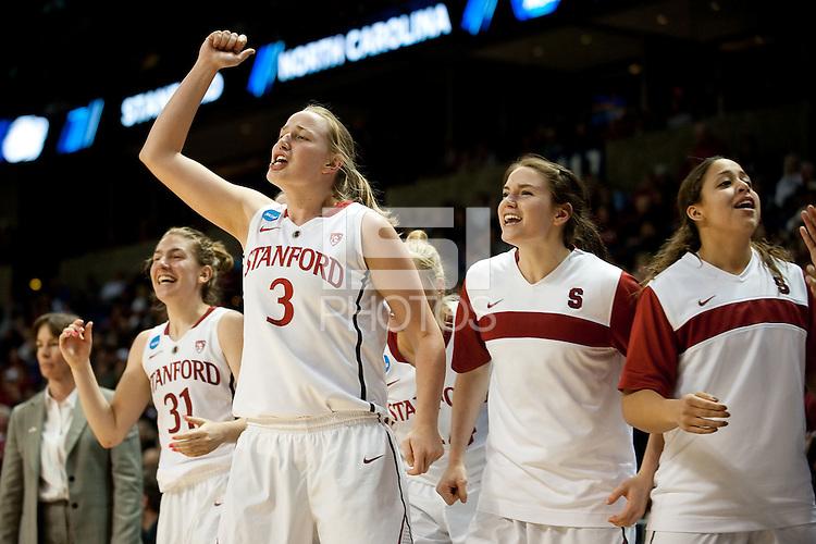 SPOKANE, WA - MARCH 26, 2011: Mikaela Ruef of Stanford Women's Basketball vs University of North Carolina, NCAA West Regionals on March 26, 2011.