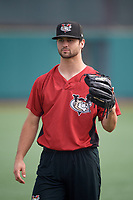 Tri-City ValleyCats Luis Santana (7) during warmups before a NY-Penn League game against the Brooklyn Cyclones on August 17, 2019 at MCU Park in Brooklyn, New York.  The game was postponed due to inclement weather, Brooklyn defeated Tri-City 2-1 in the continuation of the game on August 18th.  (Mike Janes/Four Seam Images)