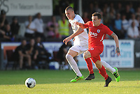 Connah's Quay Nomads' Jamie Insall vies for possession with Partizan Belgrade's Strahinja Pavlovic<br /> <br /> Photographer Kevin Barnes/CameraSport<br /> <br /> UEFA Europa League 2nd Qualifying Round 1st Leg - Connah's Quay Nomads v Partizan Belgrade - Thursday July 25th 2019 - Belle Vue Stadium - Rhyl<br />  <br /> World Copyright © 2019 CameraSport. All rights reserved. 43 Linden Ave. Countesthorpe. Leicester. England. LE8 5PG - Tel: +44 (0) 116 277 4147 - admin@camerasport.com - www.camerasport.com