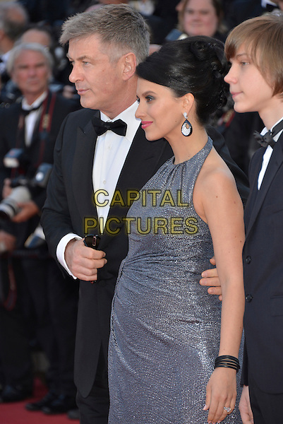 Alec Baldwin, Hilaria Thomas, Andre Toback.'Blood Ties' premiere at the 66th  Cannes Film Festival, France..20th May 2013.half length black tuxedo grey gray profile dress married husband wife pregnant  .CAP/PL.©Phil Loftus/Capital Pictures.