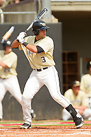 Carlos Lopez #3 of the Wake Forest Demon Deacons at bat against the North Carolina State Wolfpack at Doak Field at Dail Park on March 17, 2012 in Raleigh, North Carolina.  The Wolfpack defeated the Demon Deacons 6-2.  (Brian Westerholt/Four Seam Images)