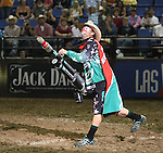 Rodeo clown shoots t-shirts into the crowd.  Photo by Tom Smedes.