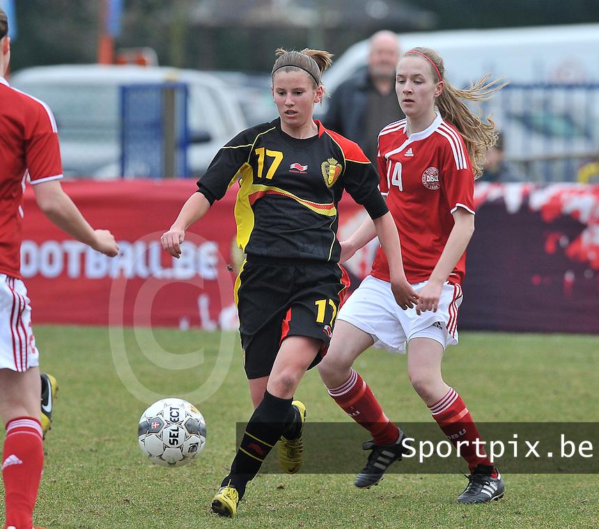 Denmark U17 - Belgium U17 : Chloe Van Mingeroet voor Sara Thrige Andersen.foto DAVID CATRY / Vrouwenteam.be