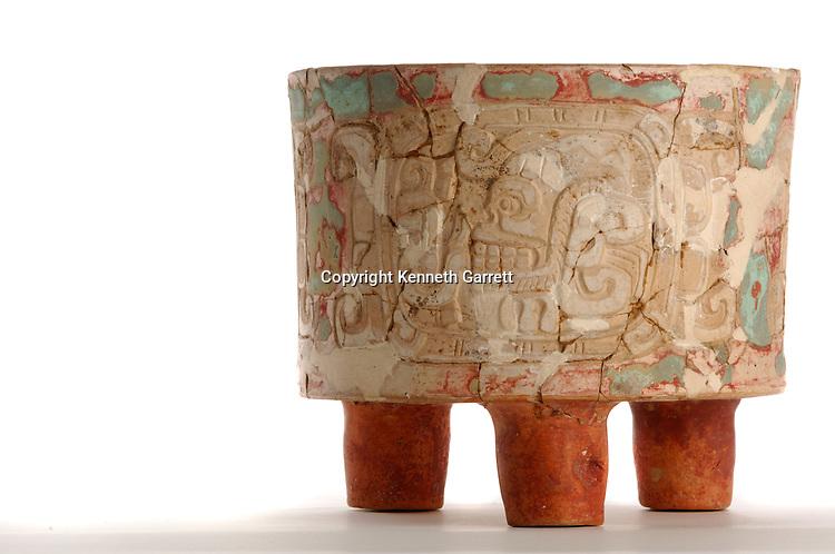 Maya Rise and Fall; Museo Nacional de Arquelogia y Ethnologia; Ministerio de Cultura y Deportes; Guatemala; Guatemala City; Tripod Vase; Ancient Cultures; Maya; Mayan; Teotihuacan Style