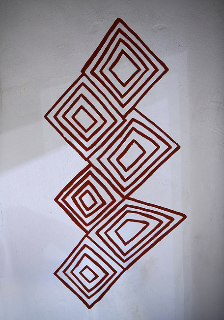 Recontruction of a wall painting found in building no 2 of the north area. 7500 BC to 5700 BC, Catalyhoyuk Archaeological Site, Çumra, Konya, Turkey