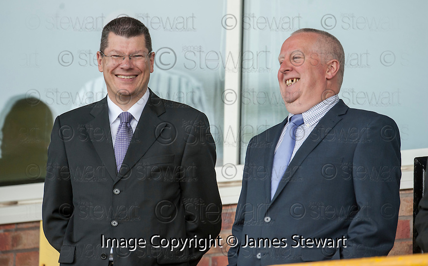 SPFL Chief Executive Neil Doncaster and Company Secretary & Director of Operations Iain Blair takes their seats in the stand at Bayview Stadium to watch the League One Play Off Final, Second Leg, between East Fife FC and Stirling Albion FC.