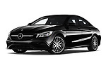 Stock pictures of low aggressive front three quarter view of a 2019 Mercedes Benz CLA Coupe 45 AMG 4 Door Sedan