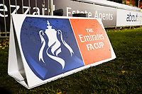 FA Cup sign during Hampton & Richmond Borough vs Oldham Athletic, Emirates FA Cup Football at the Beveree Stadium on 12th November 2018
