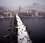 Charles Bridge spanning the River Vltava, Praque, Czech Republic