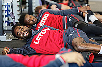 Nathan Dyer and team mates exercise in the gym during the Swansea City Training at The Fairwood Training Ground, Swansea, Wales, UK. Thursday 15 February 2018