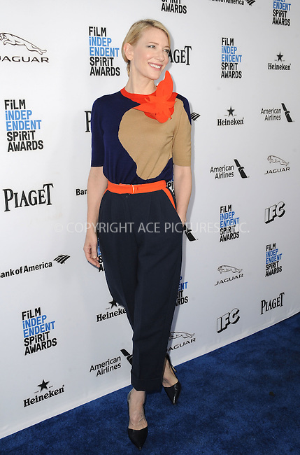 WWW.ACEPIXS.COM<br /> <br /> January 9 2016, New York City<br /> <br /> Actress Cate Blanchett arriving at the 2016 Film Independent Filmmaker Grant and Spirit Award Nominees Brunch at BOA Steakhouse on January 9, 2016 in West Hollywood, California. <br /> <br /> By Line: Peter West/ACE Pictures<br /> <br /> <br /> ACE Pictures, Inc.<br /> tel: 646 769 0430<br /> Email: info@acepixs.com<br /> www.acepixs.com