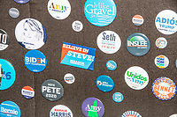 Campaign buttons for current and former presidential candidates going back decades are seen in the First in the Nation Primary display at the Visitors Center at the NH State House in Concord, New Hampshire, on Wed., November 13, 2019.