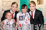 Katie Rafferty and Croiadh Molly (both Castlegregory) meeting Jedward at the back stage at Denny Street stage in the Kerry County Museum on Friday.