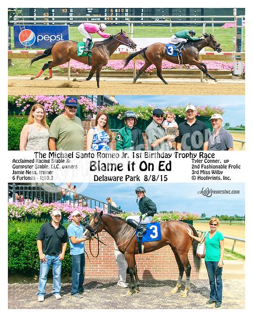 Blame It On Ed winning at Delaware Park on 8/8/15