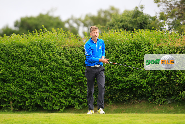 Conor McDonald (Lurgan) on the 1st tee during the Ulster Section of the AIG Junior Cup Final at Strabane Golf Club on Sunday 9th August 2015.<br /> Picture:  Thos Caffrey / www.golffile.ie