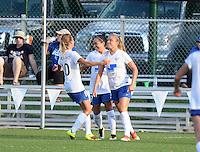 Kansas City, MO - Sunday August 28, 2016: Kristie Mewis celebrates scoring, Kyah Simon, Louise Schillgard during a regular season National Women's Soccer League (NWSL) match between FC Kansas City and the Boston Breakers at Swope Soccer Village.
