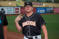 Jupiter Hammerheads pitcher Taylor Braley (29) before a Florida State League game against the Lakeland Flying Tigers on August 12, 2019 at Roger Dean Chevrolet Stadium in Jupiter, Florida.  Jupiter defeated Lakeland 9-3.  (Mike Janes/Four Seam Images)