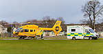 Pictured: Scottish Ambulance Service Air Ambulance Helicopter (Airbus H145, Reg: G-SASN) at Raigmore Hospital, Inverness.<br />
